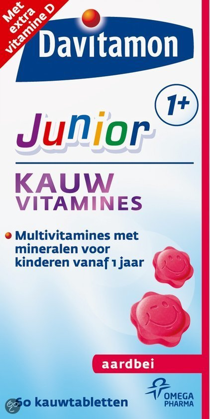 Davitamon Junior 1+ Kauwvitamines - Aardbei - 60 Kauwtabletten - Multivitamine