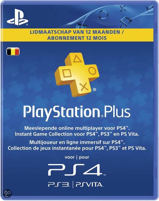 PlayStation Plus Abonnement Belgie 365 Dagen PS3 + PS Vita + PSN