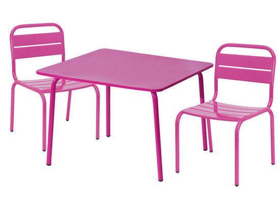 Set kindermeubelen tafel met 2 stoeltjes roze metaal - Tafel roze kind ...