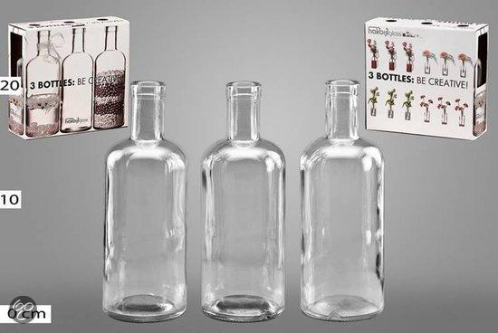 bol com   Hakbijl glas Vaas Decoratieve glazen fles, flessen, vaas, vazen (3 stuks)