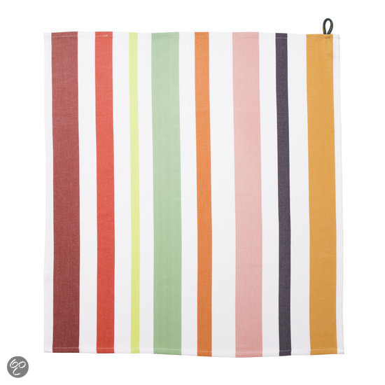Cookaware Multi Colour Stripe - Theedoek - Tomato