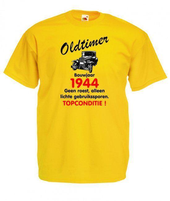 Mijncadeautje heren leeftijd T-shirt geel maat M - Oldtimer Bouwjaar (geboortejaar) 1944 in Zétrud-Lumay