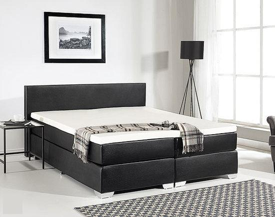 beliani boxspring boxspringbed 160x200 cm kunstleer president zwart. Black Bedroom Furniture Sets. Home Design Ideas