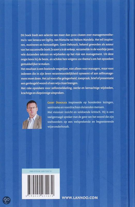 Citaten Uit De Nederlandse Literatuur : Bol groot citatenboek voor managers geert dehouck