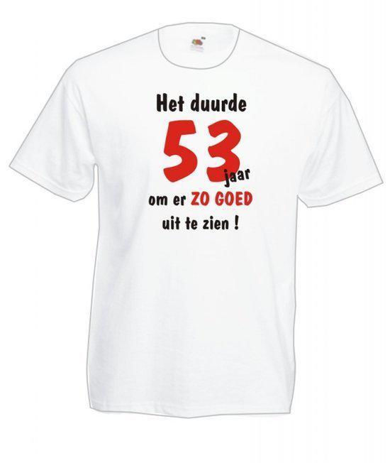 Mijncadeautje Heren leeftijd T-shirt Wit maat M Het duurde 53 jaar om er zo goed uit te zien in Oedelem