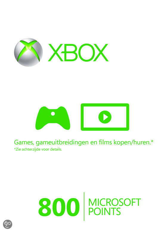 Microsoft Xbox Live 800 Microsoft Punten Xbox 360