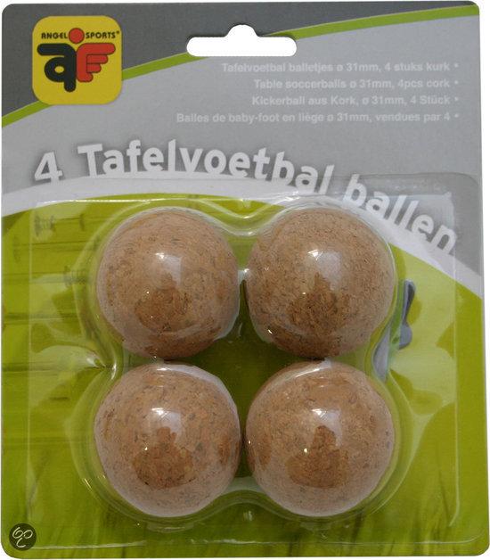 Tafelvoetbalballetjes 4 stuks kurk