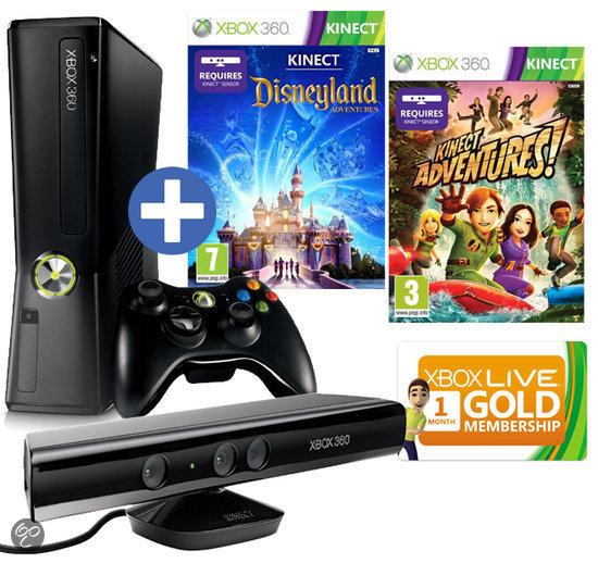 Microsoft Xbox 360 Slim 4GB + Kinect Sensor + 1 Controller + 2 Games + 1 Maand Xbox Live Gold