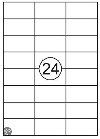 Benza Zelfklevende Etiketten, Stickers A4 Vel - 70 x 37 mm (24 stickers per vel) - 25 vel