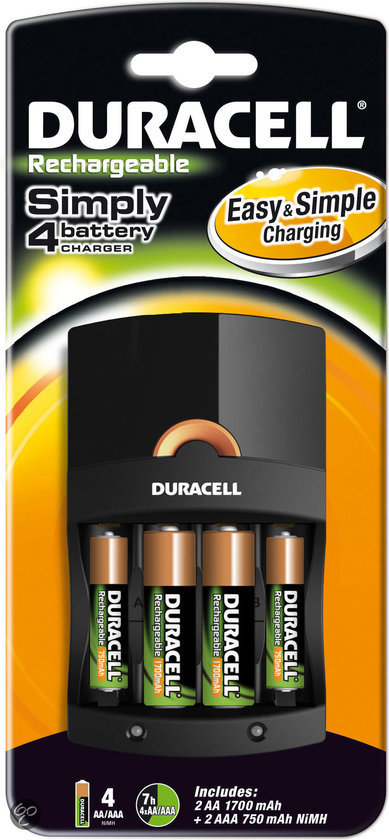 Duracell Oplader + 2xAA + 2xAAA