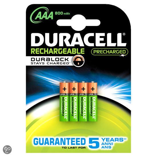 Duracell Oplaadbare Batterijen AAA 800 Mah 4x Pak - Precharged