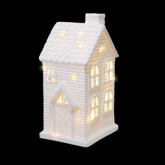 Luca lighting keramiek huisje met 2 warm witte led lampjes werkt op batterijen - Huisje met vide ...