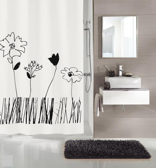 Kleine Wolke - Douchegordijn Grace zwart en wit 180x200 cm in Eldik