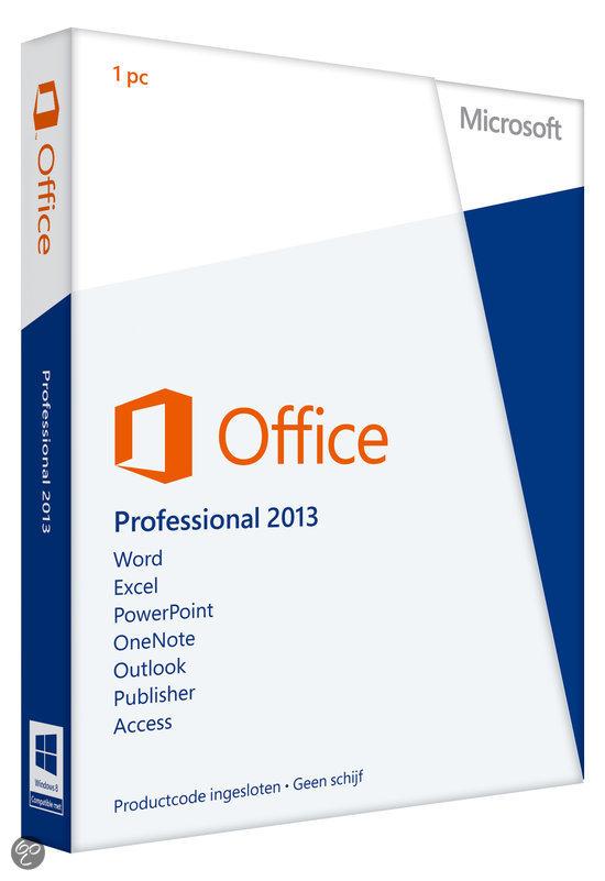 Microsoft Office Professional 2013 - Nederlands / 32-bit/64-bit / 1 Licentie / Eurozone Medialess