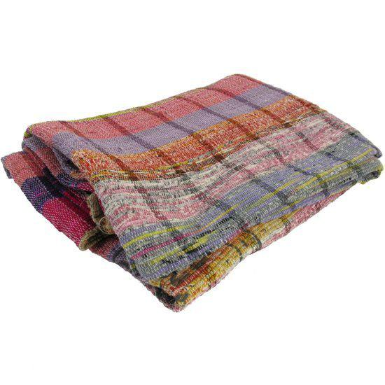 Hd collection plaid katoen multicolor - Plaid voor sofa met hoek ...