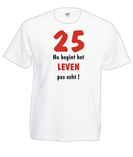 Mijncadeautje Heren T-shirt wit maat XXL 25 jaar nu begint het leven pas echt in Roeven
