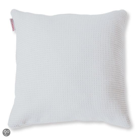 bolcom cottonbaby wafel sierkussen 40x40 cm wit