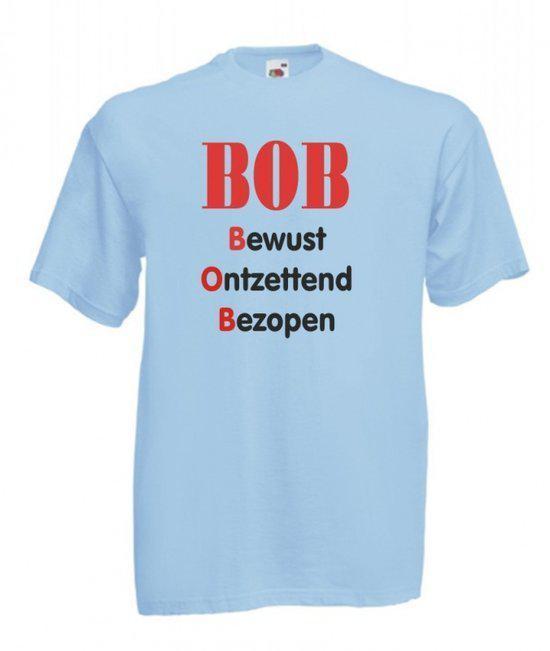 Mijncadeautje Heren T-shirt blauw maat S BOB bewust ontzettend bezopen in Hemrikerverlaat / Himrikerfallaat