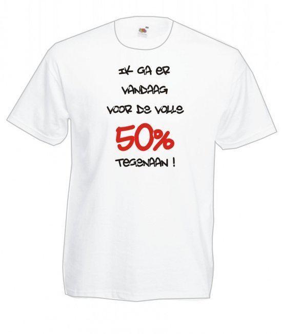 Mijncadeautje Heren T-shirt wit maat XXL Ik ga er voor de volle 50 procent tegenaan in Asse