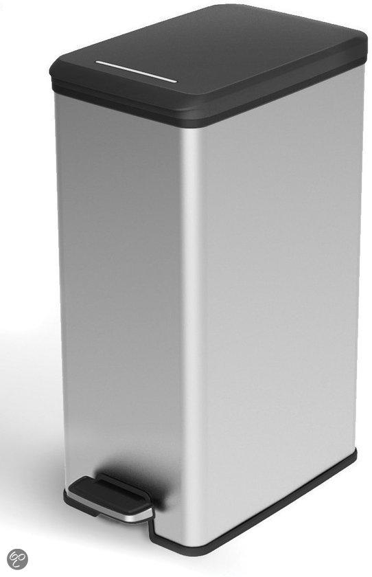 curver decobin slimbin pedaalemmer 40 l kunststof zilver metallic. Black Bedroom Furniture Sets. Home Design Ideas