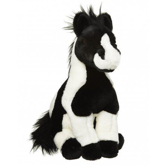 Pluche paard knuffel zwart wit 34 cm in Knegsel