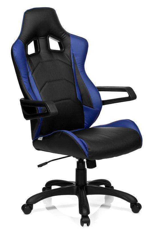 hjh office racer pro i bureaustoel pu leder zwart blauw. Black Bedroom Furniture Sets. Home Design Ideas