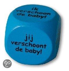 Dobbelsteen - Geboorte - Ik verschoon de baby - jij verschoont de baby (blauw) in Durgerdam