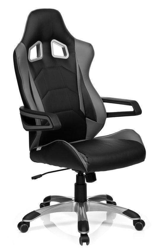 hjh office racer pro i bureaustoel pu leder zwart grijs. Black Bedroom Furniture Sets. Home Design Ideas