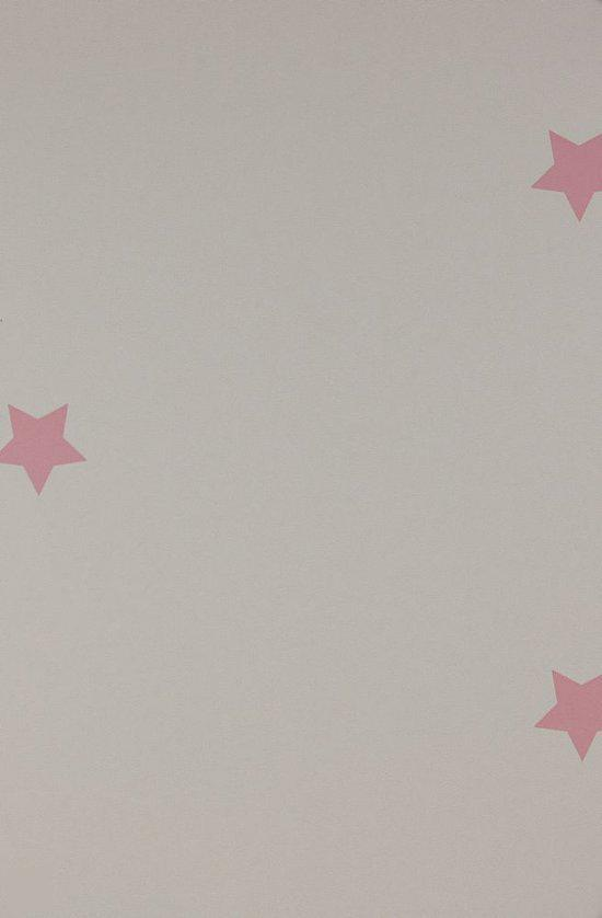 Dutch Wallcoverings Kinderbehang - Sterren - Wit/roze