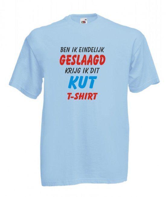 Mijncadeautje Heren T-shirt blauw maat S Ben ik geslaagd krijg ik dit K** T-shirt in Jurbise