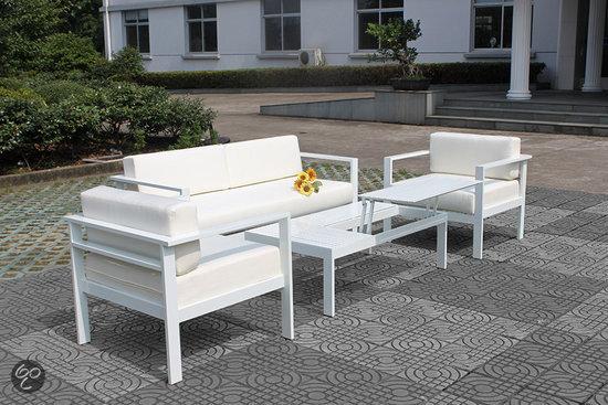 Fonteyn loungeset modern 4 delig aluminium white - Tuinmeubelen laag aluminium ...