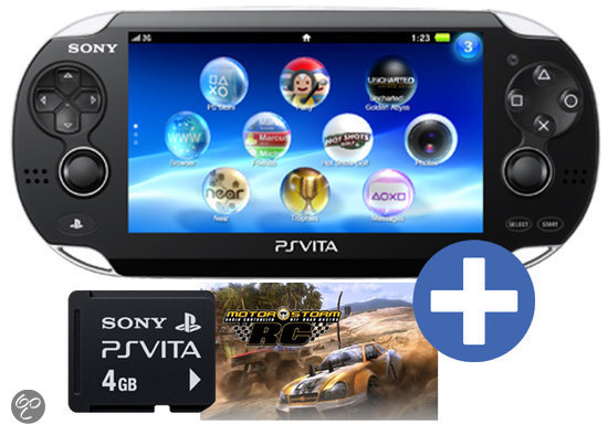 Sony PlayStation Vita 3G + Wifi + Motorstorm RC Voucher + 3G Simkaart + 4GB Memory Card