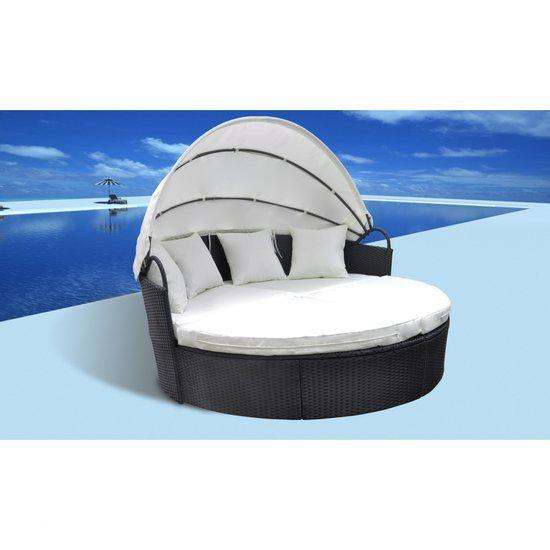vidaxl ligbed wicker loungebed met zonnescherm zwart 40496. Black Bedroom Furniture Sets. Home Design Ideas