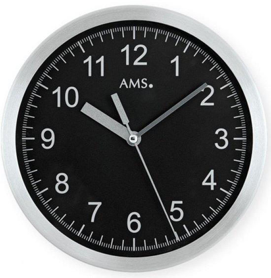 Ams Badkamer Klok 5923: AMS Radiocontrol - Klok - Rond - Aluminium/Glas