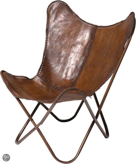 Design. Uitgevoerd in echt vintage bruin leer is deze butterfly stoel ...