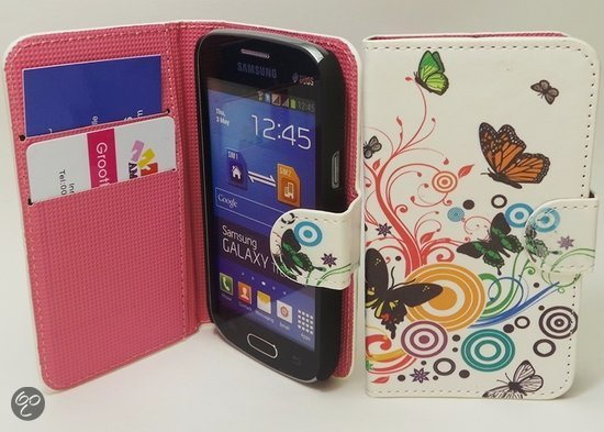 butterfly wit wallet case hoesje samsung galaxy trend lite s7390. Black Bedroom Furniture Sets. Home Design Ideas