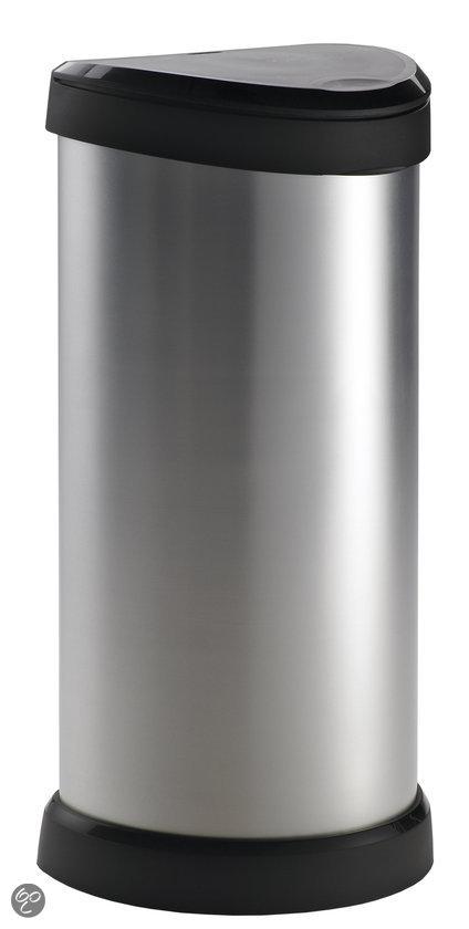 Curver Decobin Push Afvalemmer - 40 l - Zilver