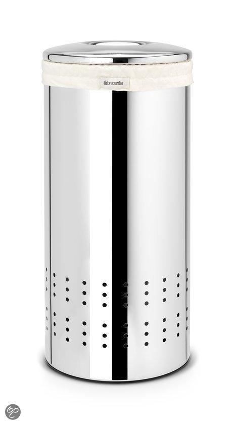 Brabantia Wasmand Wasbox met uitneembare waszak - Rond - 30 liter - Brilliant Steel