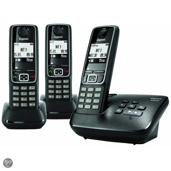 gigaset a420a trio dect telefoon met antwoordapparaat zwart elektronica. Black Bedroom Furniture Sets. Home Design Ideas