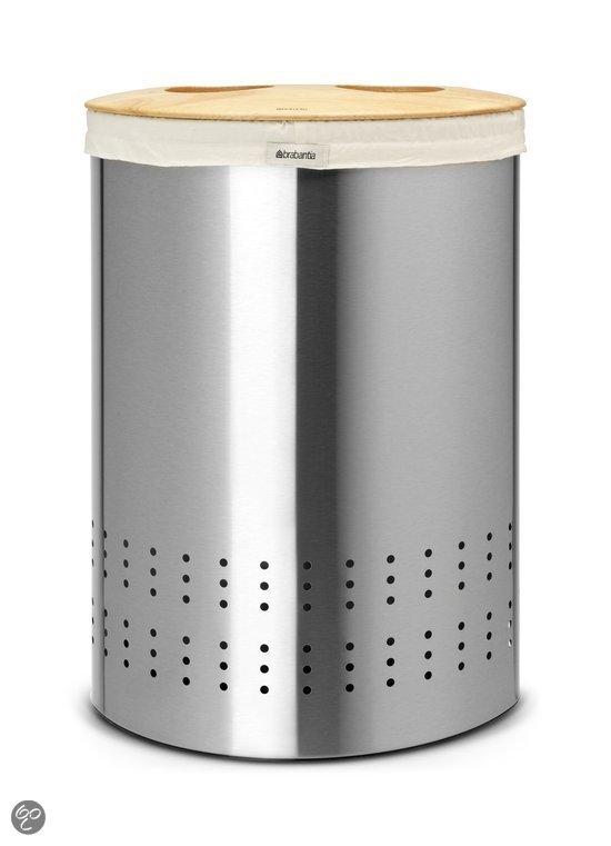 Brabantia Selector Wasmand Wasbox met uitneembare waszak - Ovaal - 40 liter - Matt Steel Fingerprint Proof met Woodline deksel