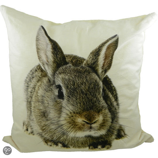 mars more konijn sierkussen 50x50 cm wit. Black Bedroom Furniture Sets. Home Design Ideas
