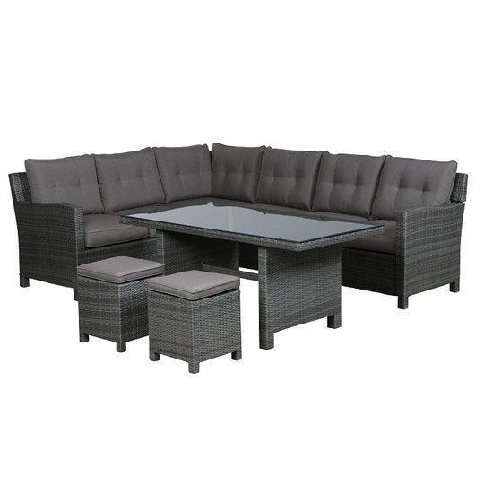 bol.com  Aboyne lounge-dining set incl. krukjes - organic grey  Tuin