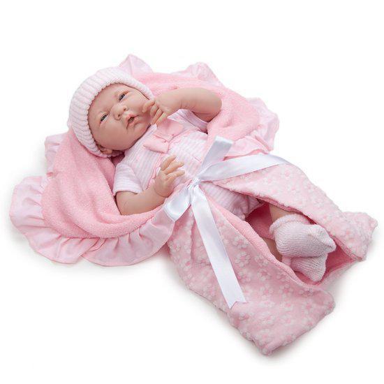 La Newborn 39 cm Meisje Roze met dekentje in Buggenum