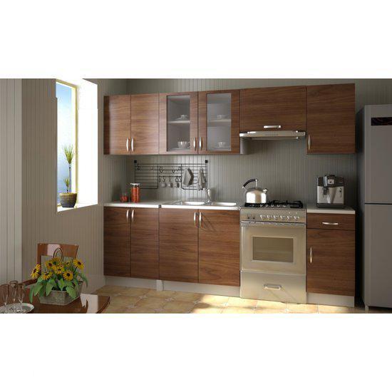 Vidaxl keukenmeubel keuken legno bruin 2 4 meter for Cuisine 5 metres
