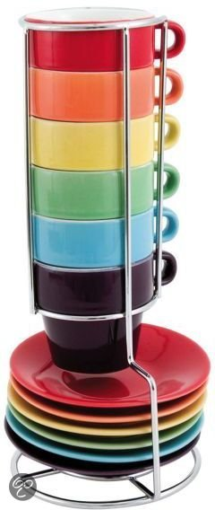 pt, Rainbow Tower Espressoset - 6 Stuks