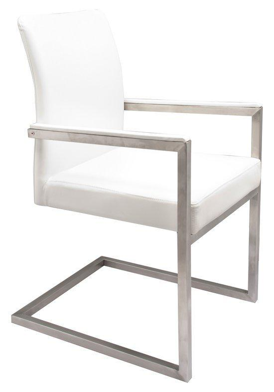 Breazz stoel blok wit per set van 2 for Leren kuipstoel eetkamer
