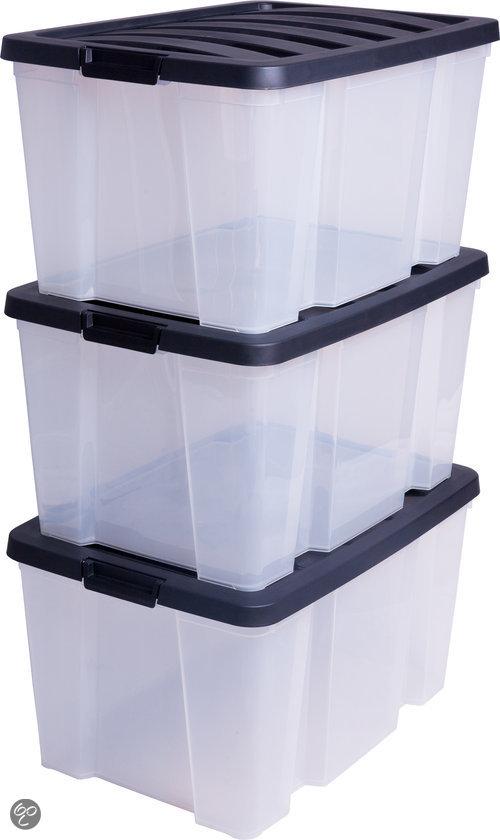 IRIS Opbergbox - 45 l - Met deksel - Transparant - 3 stuks