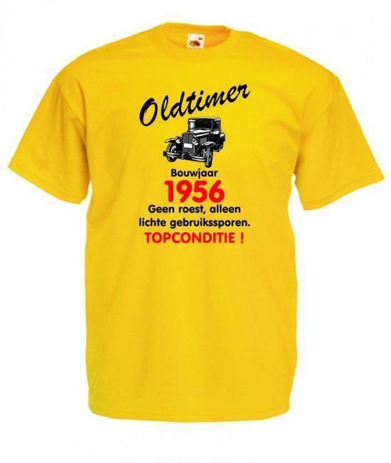 Mijncadeautje heren leeftijd T-shirt geel maat XL - Oldtimer Bouwjaar (geboortejaar) 1956 in Spiennes
