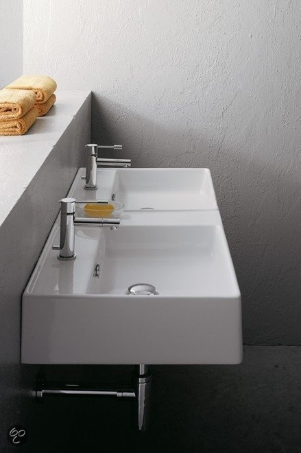Erkalinea ganges dubbele wastafel 106 x 46 cm keramiek wit klussen - Wastafel rechthoekig badkamer ...