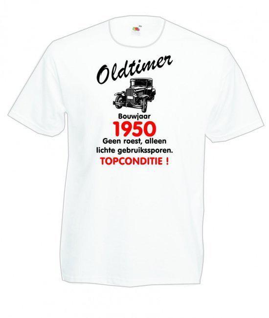 Mijncadeautje heren leeftijd T-shirt wit maat M - Oldtimer Bouwjaar (geboortejaar) 1950 in Sint-Margriete-Houtem (Tienen)